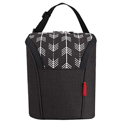 Lekebaby Insulated Baby Bottle Bags for Travel Double Baby Bottle Warmer or Cool, Arrow Black