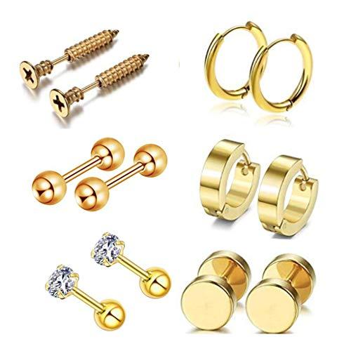 Buwei 12Pcs / Set Pendientes de Oreja de Acero Inoxidable Unisex Tornillo Barbell Piercing Pendientes Decoración
