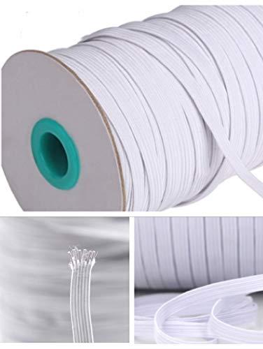 LEBEXY 50 Meter Gummiband Gummilitze gewebt flach für Basteln Schmuck Kleidung Nähzubehör (Weiß 5mm) …