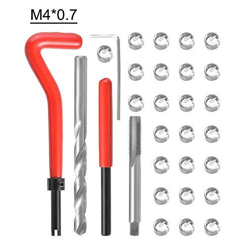 KKmoon 30-teiliges Reparaturset für metrische Gewinde M3 M4 M7 M9 M11 Helicoil Car Pro Spulenwerkzeug M4X0.7