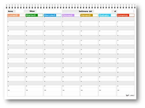 Planning da tavolo 21x30 SPIRALATO con sabato e domenica separato - non datata (55 fogli da 90 gr) agenda da tavolo perpetua