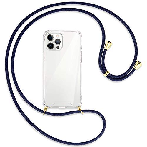 mtb more energy Collana Smartphone per Apple iPhone 12 PRO Max (6.7'') - Blu Scuro/Oro - Custodia indossabile per Collo - Cover a Tracolla con cordina