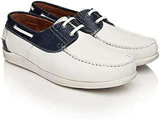 Alberto Torresi Men White & Navy Leather Casual Shoes