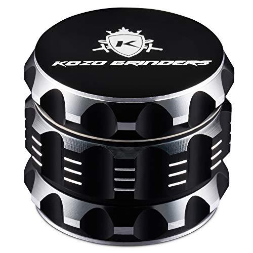 """Kozo Best Herb Grinder [Upgraded Version]. Large 4 Piece, 2"""" Black Aluminum"""
