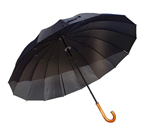 Paraguas XXL 152 cm clásico de 16 Varillas Antiviento Paraguas Grande puño Madera
