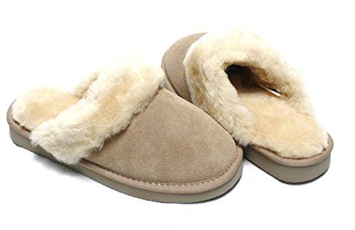 Lammfell Hausschuhe Slipper Damen Lammfell Pantoffeln Huettenschuhe sand beige mit beigen Fell mit fester Sohle - sehr warm Gr. 40