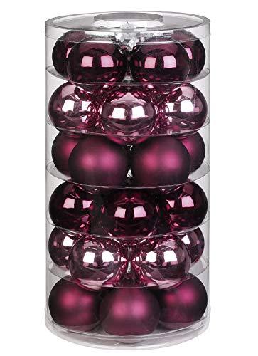 Inge Glas Weihnachtskugeln | Schöne Christbaumkugeln aus Glas | 30 Kugen in Dose | Christbaumschmuck Weihnachtsbaumschmuck Weihnachtsbaumkugeln (Berry Kiss | rot Beere Glanz/matt)