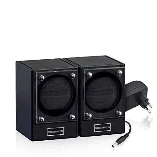 DESIGNHÜTTE® Uhrenbeweger Piccolo Classic Mattschwarz Set 2 für 2 Automatikuhren, Modulares System bis zu 4 Beweger können über Induktion drahtlos miteinander verbunden Werden.