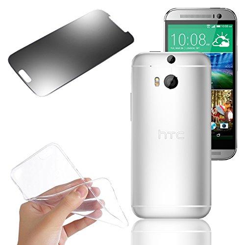 Eximmobile Silikon Hülle Schutzhülle Handytasche + Panzerfolie für HTC One (M9) (transparent)