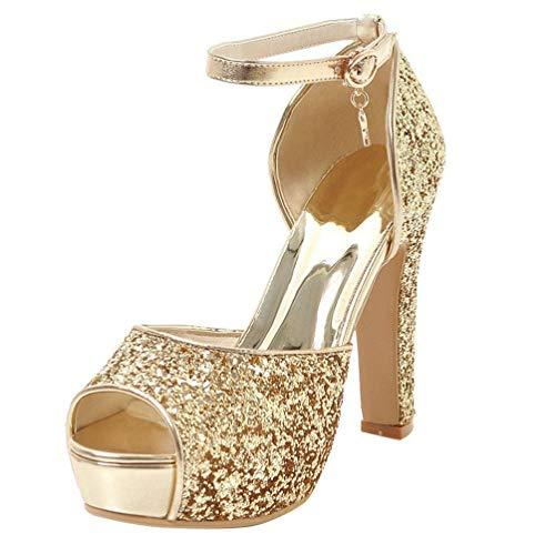 LUXMAX Damen Glitzer High Heels Plateau Peeptoe Sandalen mit Riemchen Blockabsatz Schuhe(Gold 39)