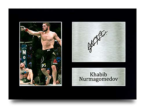 HWC Trading Khabib Nurmagomedov MMA Gifts Printed Signed Autograph Picture for UFC Memorabilia Fans - A4