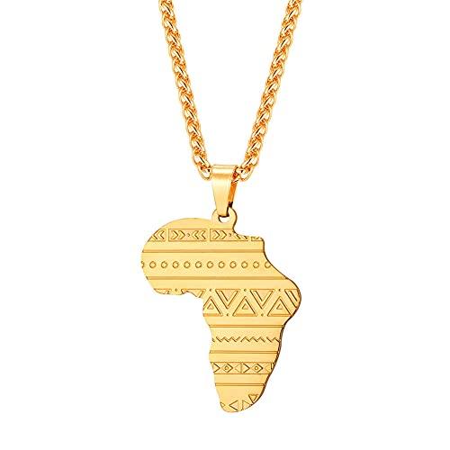 YQMR Collar Colgante Mapa Mujer,África Mapa Colgante Collar Vintage Grabado Boho Geometría Colgante Dorado Joyería Clásica Dama Regalo Brillante para Parejas Cumpleaños Boda