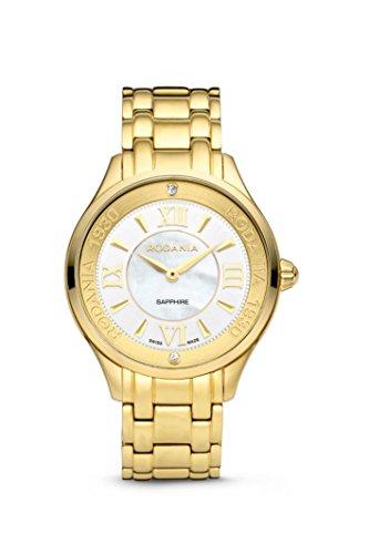 Rodania–Star Diamond–Reloj de Pulsera para Mujer, Color Dorado 34mm de diámetro