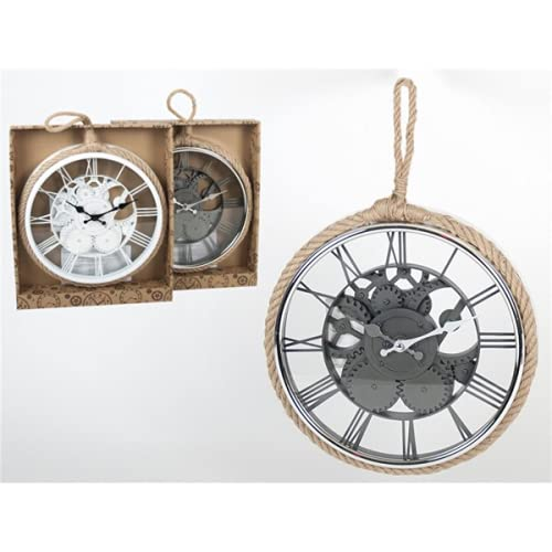 Reloj Pared Vintage Silencioso 30 cm con Colgador   Decoración Pared Decoración Vintage   Reloj Pared Madera Dormitorio Salón Cocina Oficina Bar   Regalo Original (Gris)