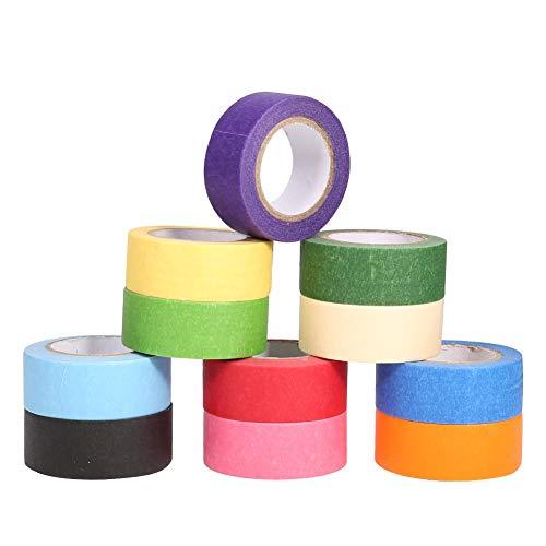 iufvbgxdh 11 rollos cinta de carrocero de colores caramelo arcoíris cinta para álbumes de recortes para manualidades, bricolaje, suministros de fiesta codificados por color, 24 mm de ancho