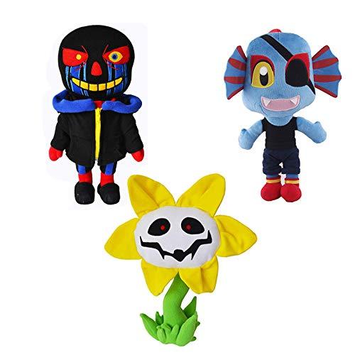 3 Unids / Set 22-28Cm Undertale Sans Muñeco De Peluche Dibujos Animados Zombie Negro Juguete De Peluche Suave Girasol Alien Doll Moive Personaje del Juego Niños Regalos De Cumpleaños