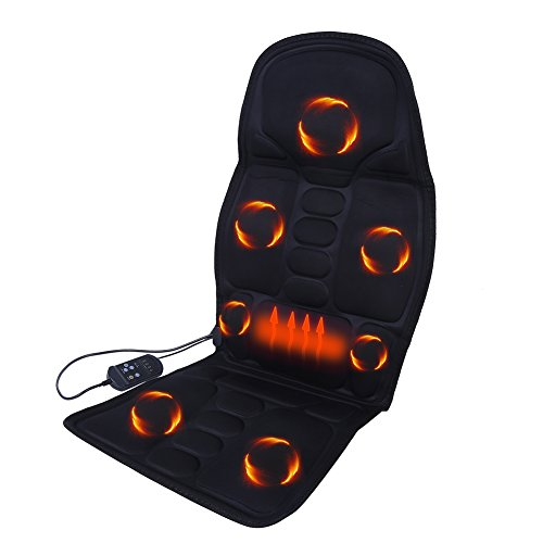 Massage Seat Cushion, Heated Electric Neck Lumbar Back Full Body Massager Seat Pad Cushion with Automatic Timing Function and 8 Massage Modes for Car Seat Home Office Sofa Bed, AC 110‑240V(110-240V)
