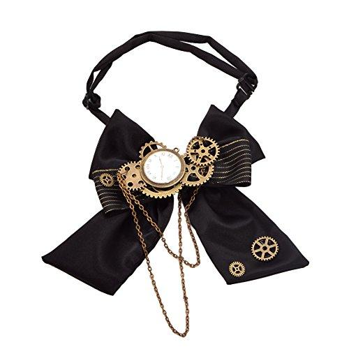 BLESSUME Steampunk Corbata de moño Engranajes, Negro,Talla única