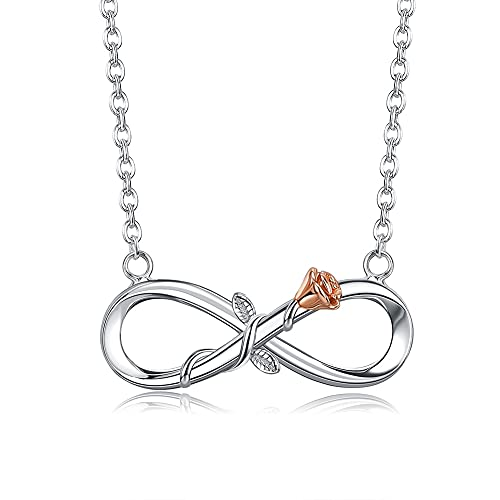 Collar de amor infinito para mujer Plata de Ley 925 chapado en oro rosa collares entrelazados con cadena colgante de flores