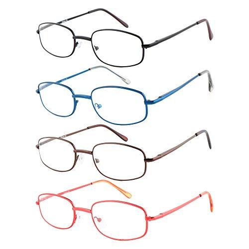 EFE Lesebrille 4 Pack Dünne Leichte Federscharnier Brille zum Lesen mit Etui Männer und Frauen +2.00