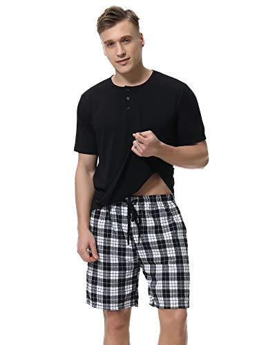 iClosam Herren Pyjama Baumwolle Set Langarm Schlafanzug Zweiteiliger Klassisch Warm Rundhals Shirt und Karierter Pyjamahose S-XXL