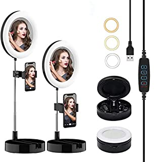 "CTFIVING Portable Selfie Ring Light with Stand and Phone Holder, 6.5"" Dimmable LED Makeup Ring Light with Mirror, 3 Color Modes and 10 Brightness Ring Light for Live Stream/Photography/Video Recording (black) (B08HYY37WF) 