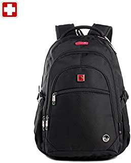SWISSWIN Swiss Waterproof Business Backpack Travel Backpack College School Backpack Casual Daypack Daily Shoulder Bag SW9130 Black 15.6 inch Laptop Notebook Backpack for Men Womens Boys Girls…