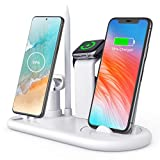 2021 Latest Wireless Charger Stand,6in1 Fast Wireless Charging Dock Station Qi Certified for iPhone/Apple Pencil/iWatch/Airpods/Samsung/Type-C Phones, Foldable &LED Night Light Design,5W/ 7.5W/10W