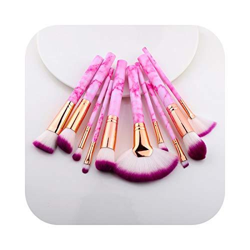Brochas de Maquillaje 5/15pcs Set Cosmético Polvo Sombra de Ojos Fundación Blush Belleza Maquillaje Kabuki Pincel Herramientas Maquiagem-Sector 10pcs Rosa