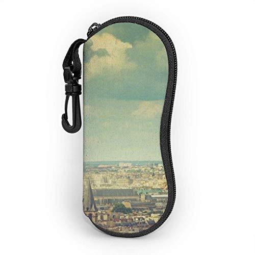 Funda de Gafas Torre Eiffel Paris Francia Ciudad Blue Sky Ultra Ligero Neopreno Suaves viaje Estuche para Gafas de caso Bolsa con Clip de Cinturón