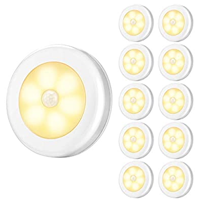 AMIR Upgraded Motion Sensor Lights, Battery-Powered LED Night Lights, Stick-Anywhere Closet Lights Stair Lights, Wall Lights for Hallway, Bathroom, Bedroom, Kitchen etc. (Warm White - Pack of 10)