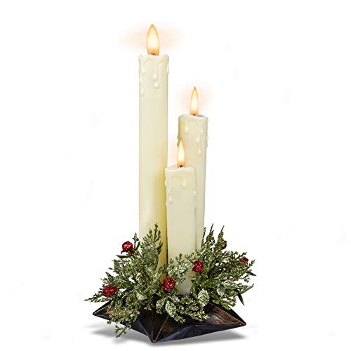 Flameless Flickering Candles Battery Operated - 3-Lights Christmas Decorative Candlesticks with Moving Flame&Artificial Holly for Table Party Holiday Church Window Wedding