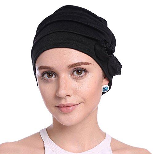 Lyguy Head Wrap, Vrouwen Ruche Chemo Turban Hoofdband Sjaal Beanie Cap Hoed Voor Kanker Patiënt Zwart