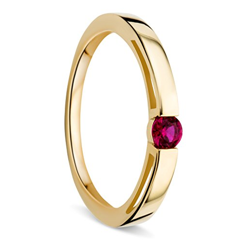 Orovi Woman Solitaire Engagement Ring 9 ct / 375 Yellow Gold and Ruby 0.15 ct