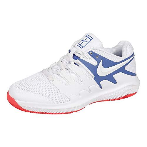 Nike Unisex-Kinder Jr Vapor X Tennisschuhe, White/White/Game Royal/Flash Crimson, 33 EU