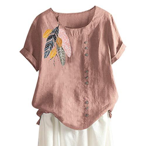 MOTOCO Damen Übergröße Kurzarm T-Shirt Top Lässig O Ausschnitt Mit Knopf Mode Tier Druck Lose Tees (XL,Pink-2)
