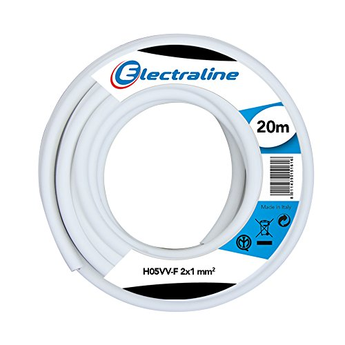 Electraline 11425, Cable para Extension Electrica H05VV-F, Sección 2G1 mm, 20 mt, Blanco