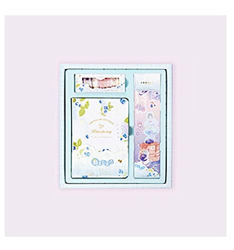 MLOPPTE Caja de regalo de cuenta manual,Kawaii creativo libro de mano caja de regalo cuaderno estudiante conjunto cuenta de mano material de bricolaje Blueberry