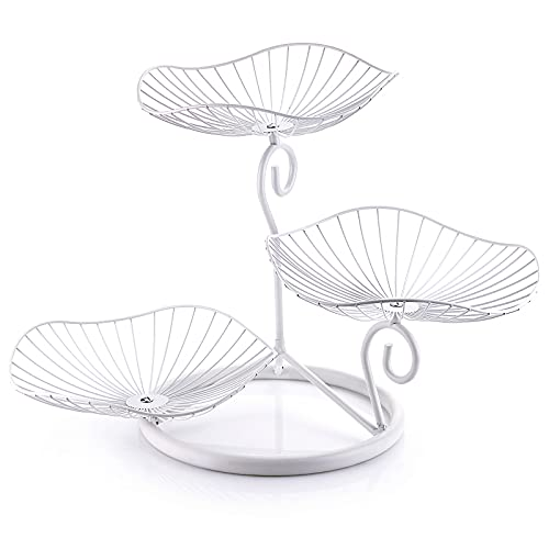 BSTKEY 3-Tier Metal Fruit Basket Stand, Decorative Food Table Countertop Holder Bread Candy Snacks Display Storage for Kitchen, Living Room, Bathroom, Garden (White)