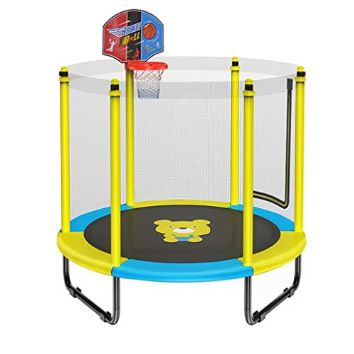 M-YN Kids Trampoline with Enclosure Net, 1.5m/5FT High Elasticity Trampoline with Safety Enclosure- Indoor Outdoor Trampoline for Toddler, Kids (Color : Yellow)