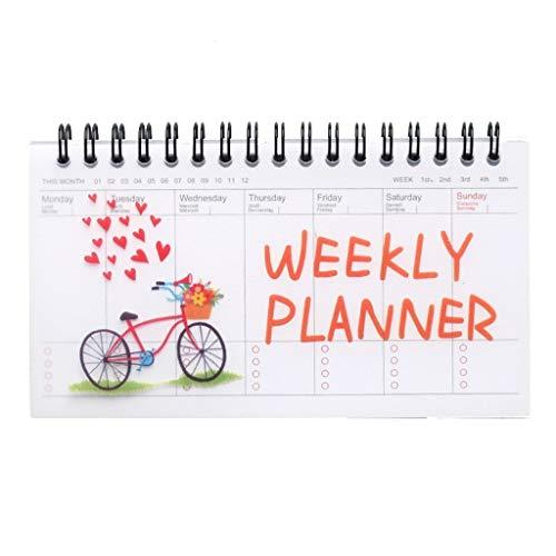 Cuadernos de Diario en Blanco de Papel Rayado Plan Cute Cartoon Coil Can Tear Week Plan Schedule Notepad Simple Notebook Paquete de Trabajo Escolar Diario de Cuaderno de p (Color : B)