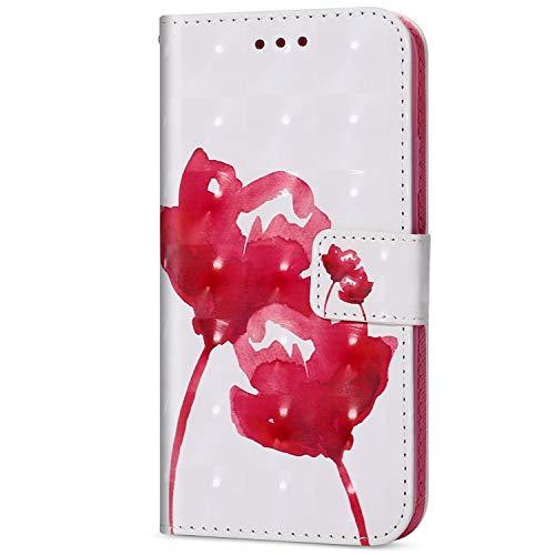 Herbests Compatible avec Galaxy J7 Duo 2018 Housse de téléphone en Cuir Etui de Protection Motif PU Cuir Portefeuille Folio Housse Case Cover Couverture avec Fonction Stand,Rose Rouge