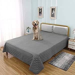 TOMORO 100% Waterproof Bed Cover for Dogs – Reversible Furniture Protector Sofa Cover Washable Reusable Incontinence Bed Underpads Blanket for Pets Kids Children Cat, Light Gray, 96 x 82 Inch