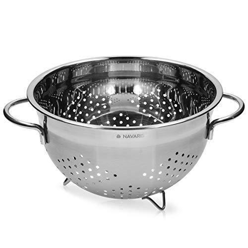 Navaris Colador de Cocina de Acero Inoxidable - Escurridor metálico para Pasta arroz Verduras Quinoa - Cuenco escurridor Estable con Asas y Patas