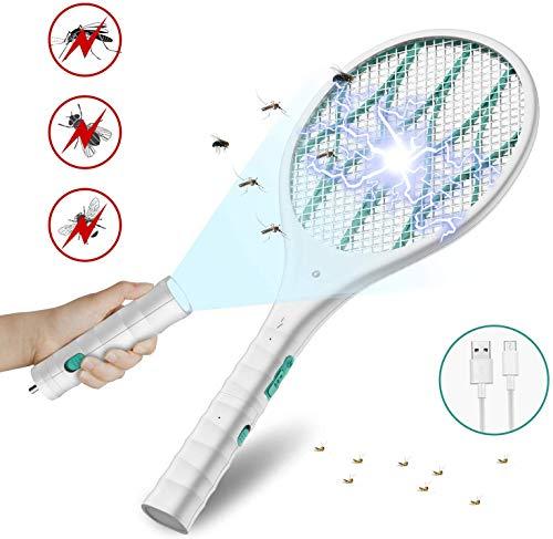 DOUHE Blanco Antimosquitos Recargable Raqueta Matamoscas Electrica, Mata Mosquitos Electrico, 4000 Voltios, Iluminación LED, Linterna Extraíble, Malla de Seguridad Unica de 3 Capas Segura para Tocar