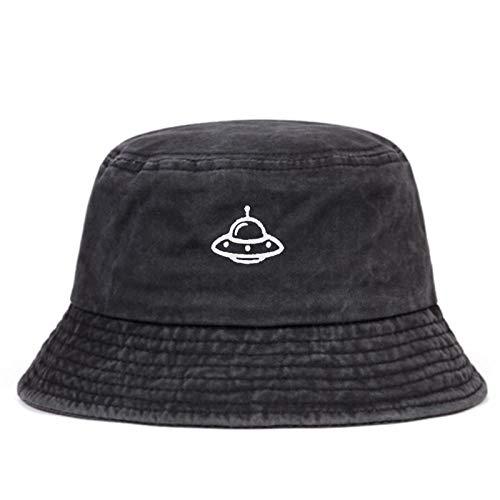 EimerhutDamen Mode Wilde Baumwolle Gewaschener Fischerhut Gestickte Eimerhüte Hip Hop Männer Und Frauen Im Freien Sonnenhüte Panamahüte-Dark_Grey