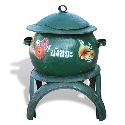 Wilai Behälter aus recycelten Autoreifen Pflanzgefäß Müllbehälter Amphore Hochbeet dekorativ (Grün)