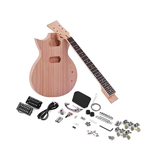 Kalaok Unfinished Kit de guitarra eléctrica DIY Cuerpo y guitarra de caoba Diapasón de palisandro
