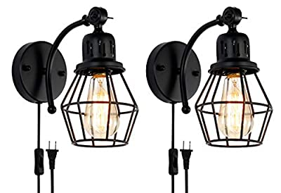 Wire Cage Industrial Wall Sconce Hardwire or Plug-in Wall Light Shade Vintage Style Edison E26 Base with on/Off Toggle Switch for Headboard Bedroom Garage Porch Light 2 Packs ?Plug in Porch Light.