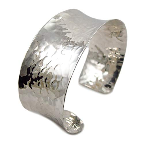 Wide UK Hallmarked 925 Sterling Silver Hammered Bracelet Cuff